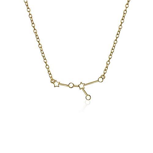 Astro Astrologie Sternzeichen Krebs Sternbild Sterne Halskette Für Damen Jugendlich 14 Kt Vergoldet Sterling Silber