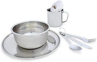 Backpacking Stainless Steel Mess Kit Lightweight 1 Person Dish Set with Mesh Bag