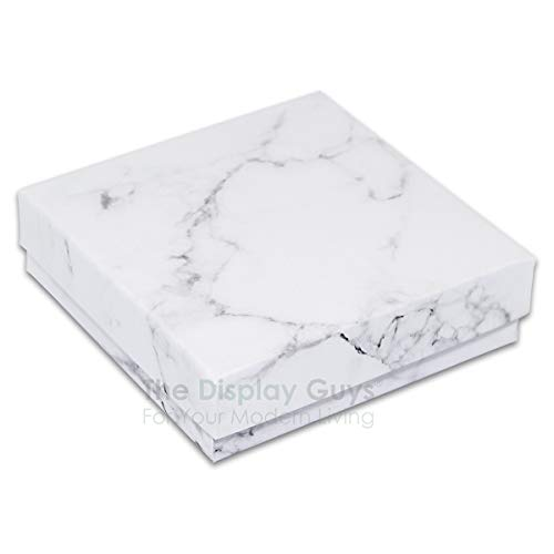"TheDisplayGuys 25-Pack #33 Cotton Filled Cardboard Paper Jewelry Box Gift Case - Marble White (3 1/2"" x 3 1/2"" x 1"")"