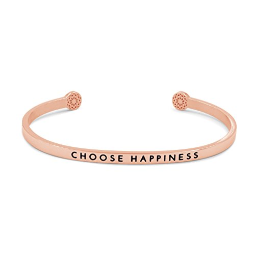 Simple Pledge - Choose Happiness - Armreif in Roségold mit Gravur für Damen