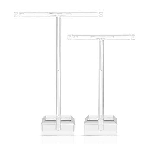 TopBATHY - Soporte de acrílico transparente para pendientes, en forma de T, organizador de joyas, 2 unidades