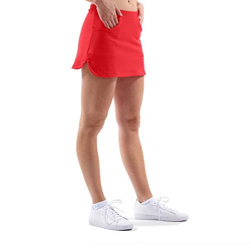 SPORTKIND Jupe Short de Tennis, Golf, Course à Pied et Hockey avec Poches, pour Fille et Femme, Respirant, Protection Solaire, Rouge, 13 Ans