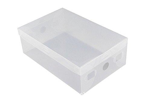 5 cajas de almacenamiento plegables de plástico transparente para zapatos, apilables con tapa: Amazon.es: Hogar