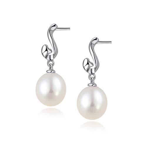 Aretes para Mujer Joyería joyería de aretes de Perlas de Agua Dulce clásico y Elegante 925 de Las Mujeres Belleza Fina Pendientes de Color Blanco Elegante Pendientes