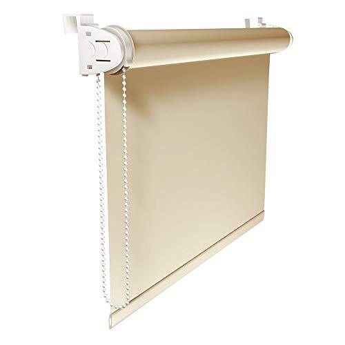 Victoria M. Klemmfix Verdunkelungsrollo ohne Bohren Rollo 70 x 230 cm, Creme, Seitenzugrollo Verdunkelung für Fenster und Türen