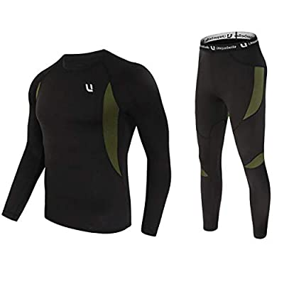 UNIQUEBELLA Men's Thermal Underwear Sets Top & Long Johns Fleece Sweat Quick Drying Thermo (Sets Black, L)