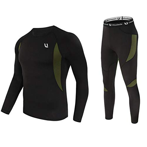 UNIQUEBELLA Men's Thermal Underwear Sets Top & Long Johns Fleece Sweat Quick Drying Thermo (Sets Black, M)