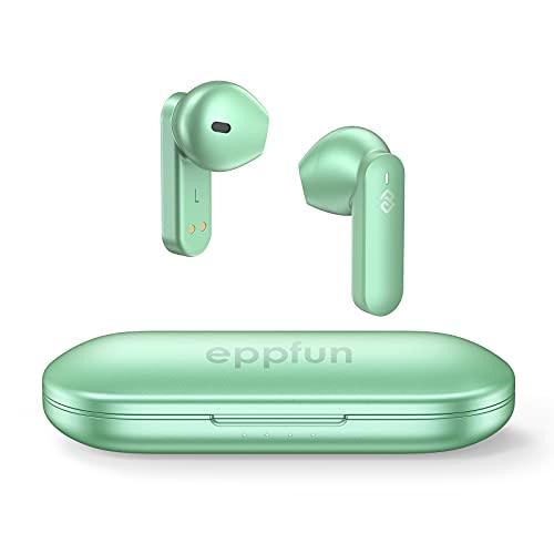 eppfun Cuffie Bluetooth, Wireless Auricolari Bluetooth 5.2, Hi-Fi Stereo in Ear Earphones, Controlli Touch con Microfoni, Qualcomm aptX HD, Riduzione dei Rumori CVC 8.0, 32 ore di Riproduzione