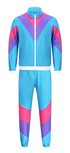 Seawhisper 80er 90er Assi Jogging-Anzug witziger Proll Trainingsanzug New Kids Kostüm für Erwachsenen Herren Damen Pärchen Kostüme
