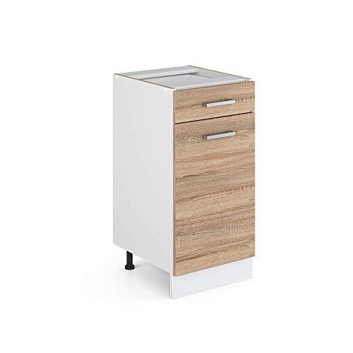 Vicco Küchenschrank R-Line Hängeschrank Unterschrank Küchenzeile Küchenunterschrank Arbeitsplatte, Möbel verfügbar in anthrazit und weiß (Sonoma ohne Arbeitsplatte, Schubunterschrank 40 cm)