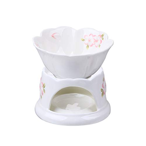 HEMOTON Keramik Fondue- Set Kirschblüten Muster Dessert Butter Brunnen Fondue Topf Käse Teekanne Wärmer Tee Licht Herd Für Schokolade Süßigkeiten EIS Und Tapas