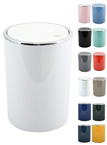MSV Bad Serie Aspen Design Kosmetikeimer Bad Treteimer Schwingdeckeleimer Abfallbehälter mit Schwingdeckel 6 Liter (ØxH): ca. 18,5 x 26 cm weiß