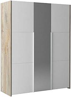 Tousmesmeubles Armoire 3 Portes battantes Chêne délavé/Blanc Mat - Florine - L 162 x l 57 x H 209 - Neuf