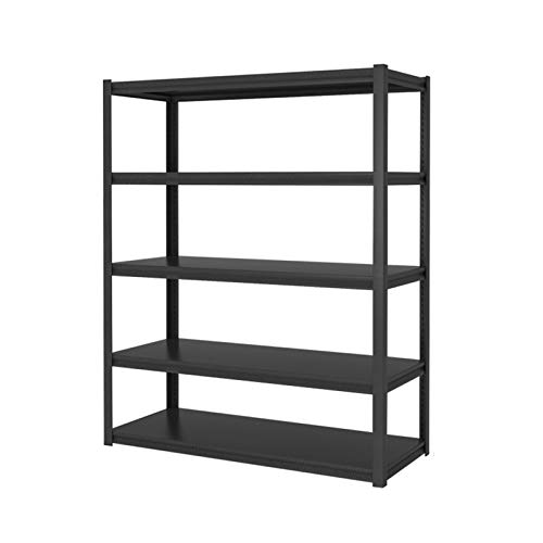 shelf RENJUN- 5-layer Metal Storage Height Adjustable Unit Free Standing Rack Made of Carbon Steel That is Not Easy to Rust Gourd Lock Design Black(Size:30x50x138cm)