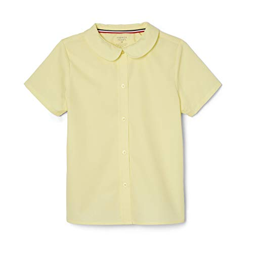 French Toast Little Girls' Short Sleeve Peter Pan Collar Blouse, Yellow, 6
