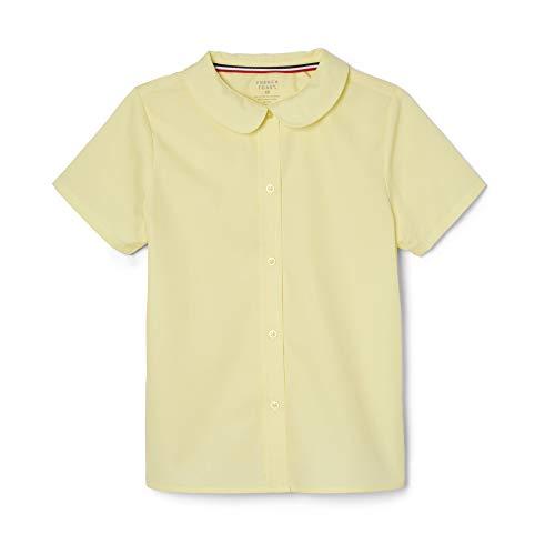 French Toast Toddler Girls Short Sleeve Modern Peter Pan Collar Blouse, Yellow, 3T