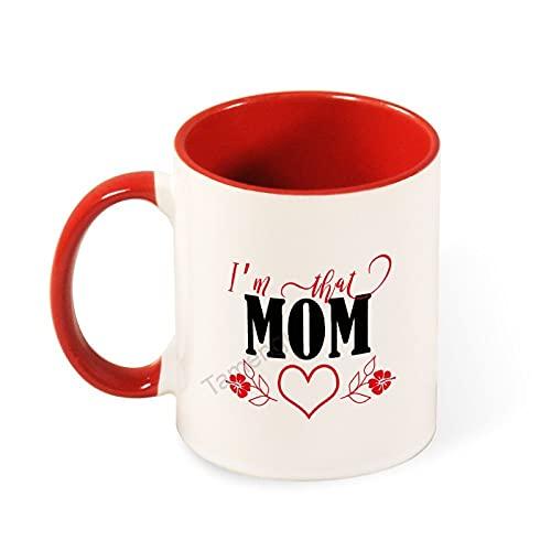 Taza de café con texto en inglés 'I'm Than Mom' - Regalo para mamá de hija/hijo/marido, regalo de broma para mamá en el día de la madre, cumpleaños, día del padre, taza de dos tonos