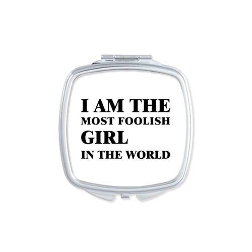 DIYthinker Je suis Le Maquillage Compact sotte Miroir carré Portable Mignon de Cadeau Miroirs de Poche à la Main Multicolor