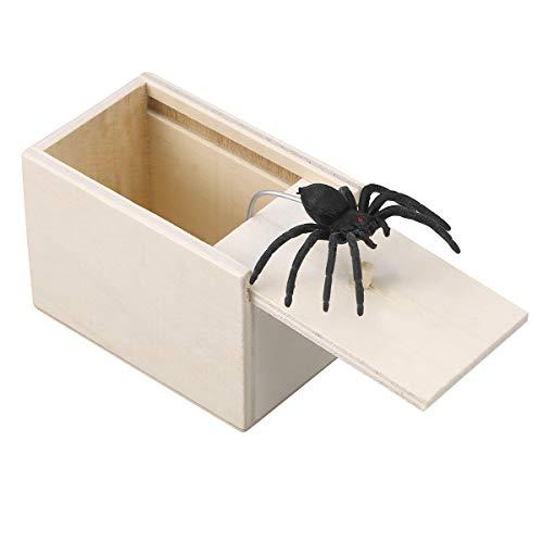 STOBOK Spinne Überraschung Streich Holz Angst Box Witz Spielzeug Narren Day Box für Erwachsene Kinder (White Board, Spinne)