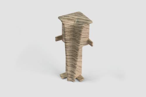 EGGER Innenecke Sockelleiste Eiche hellgrau für einfache Montage von 60mm Laminat Fußleisten | Inhalt 2 Stück | Kunststoff robust | Holz Optik hell grau