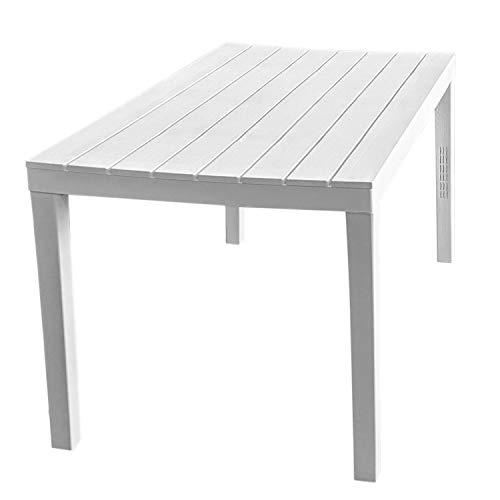 Multistore 2002 Gartentisch Sumatra, Holzoptik, Kunststoff, Weiß, 138x78cm - Bistrotisch Beistelltisch Partytisch Balkontisch Campingtisch Mehrzwecktisch Balkonmöbel