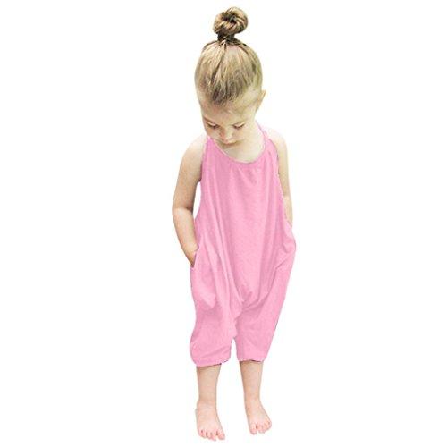 Combinaison de Fille - Bébé Filles Été Sangles Barboteuses Combi-Short Romper Combinaison Harem Pantalon Vêtements Tenues pour Age 1-6 Ans Ba Zha Hei (100/2A, Rose)