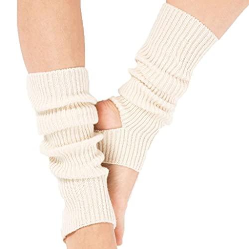 WJCCY Mujeres Latino Baile de Yoga Calcetines de Punto de Bota Corporal Calcetines Calentadores de piernas Calcetines de Yoga (Color : White, Size : Length: 43cm)