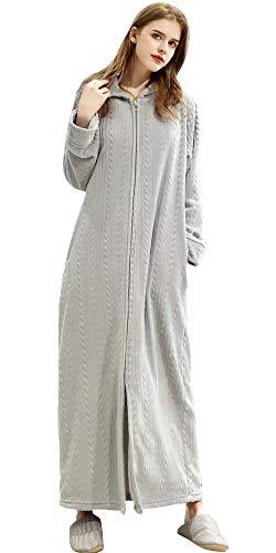 Damen Flauschige Bademantel mit Kapuze Warm fleece Morgenmantel mit Reissverschluss Lang Unisex Hellgrau M