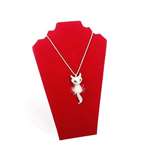 Exhibición de soporte de joyería Collar de joyería de franela creativa 2 collares Soportes de estante de joyería Joyas para collares Pendientes Pulseras y anillos (Color: Rojo, Tamaño: 32 cm)