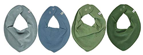 Pippi Halstücher 4er Pack Baby Lätzchen Dreieckstücher (Blau + Grün)