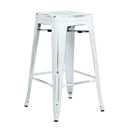 OSP Home Furnishings Bristow Antique Metal Barstool, 26-Inch, Antique White, 4-pack
