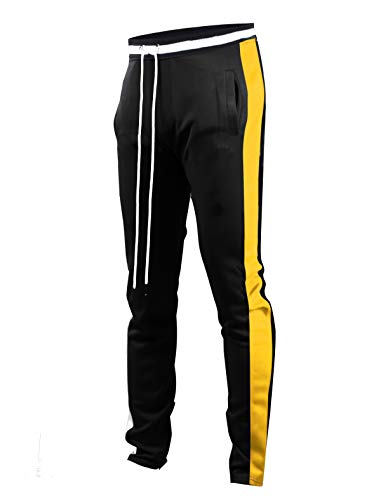 Screenshotbrand Mens Hip Hop Premium Slim Fit Track Pants - Athletic Jogger Bottom with Side Taping (XXX-Large, S41700-Black/Yellow)
