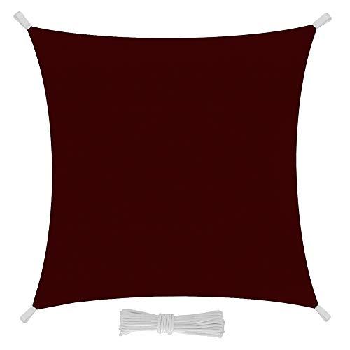 EGLEMTEK Tenda Parasole Quadrata a Vela Telo da Sole da Esterno - Protezione dai Raggi UV - Tessuto in Polietilene Resistente e Impermeabile - Colore Amaranto