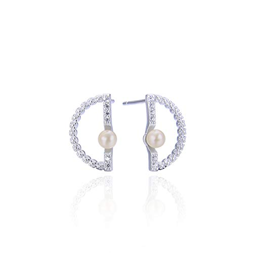 KnSam Pendientes de plata 925 para mujer, diseño de letra D, color blanco con circonitas