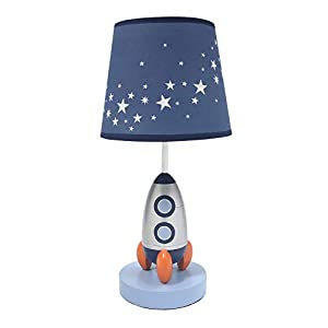 Lambs & Ivy Milky Way Blue/Silver Rocket Ship Nursery Lamp with Shade & Bulb