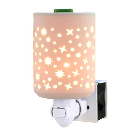 STAR MOON Wall Plug in Wax Warmer for Home Décor, Wax Melter Plug in, Home Fragrance Diffuser, Hollowed-Out Work, No Flame, with One More Bulb, Starry Night