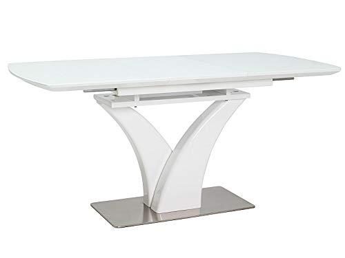 LUENRA - Mesa de comedor rectangular (extensible), madera y cristal templado, 120 (160) x 80 x 76 cm, patas de acero cepillado y madera lacada en blanco
