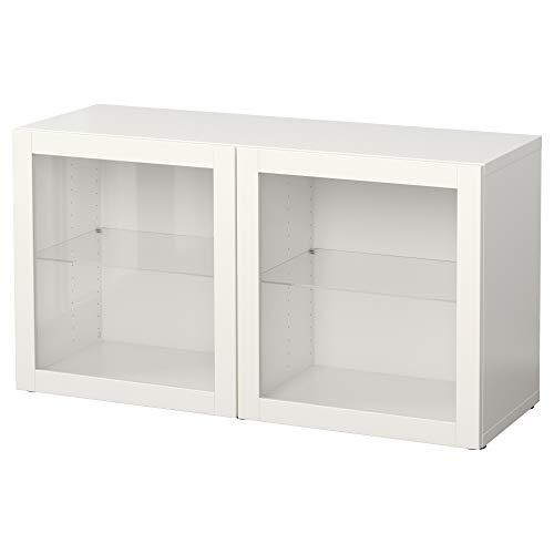 BESTÅ estantería con puertas de vidrio 120x40x64 cm Sindvik blanco