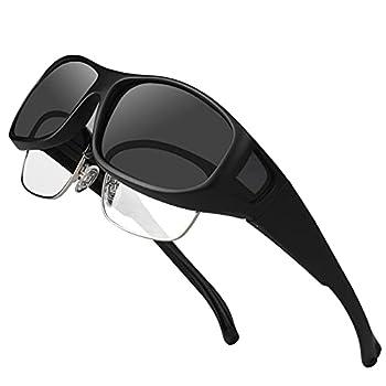 Sunglasses Fit over Glasses for Men Women Oversized Polarized UV Protection That Fit on Regular Glasses - M Black Frame Grey Lens