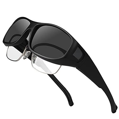 Sunglasses Fit over Glasses for Men Women Oversized, Polarized UV Protection That Fit on Regular Glasses – M Black Frame Grey Lens
