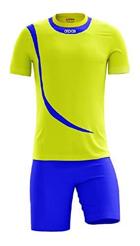 Alpas Trikotsatz 14x Trikot + Hose - Größe XS/S gelb/blau - AUSLAUFMODELL, Größe: XS/S, Farbe: gelb/blau
