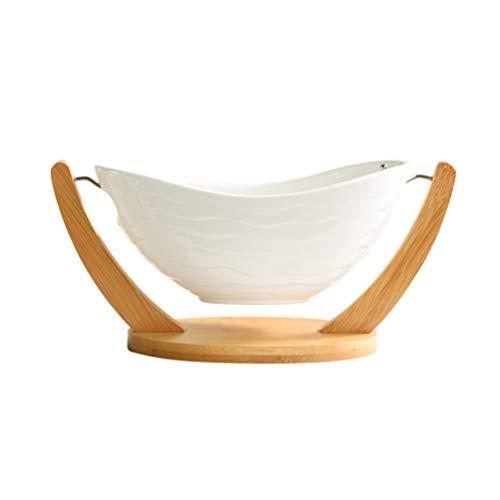 UPKOCH Keramik Servierschale mit Ständer Obstkorb Schüssel Trockenfutter Snack Serviertablett für Küche Esszimmer Arbeitsplatten Tisch L