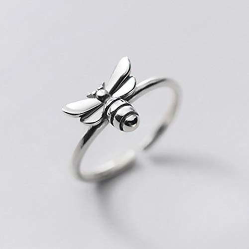 siqiwl Open Ring 925 Sterling Silver Fashion Sweet Insect Bees Opening Ring For Women Wedding Birthday Fine Jewelry