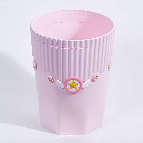 weichuang Papelera de plástico rosa creativa con tarjeta de anime Captor Sakura Kawaii de dibujos animados en casa, oficina de escritorio, cesta de almacenamiento de basura grande Sakura