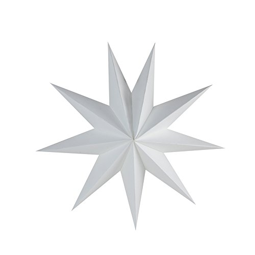 SUNBEAUTY 30cm 3x Folded Paper Star Lanterns 3D Hanging Paper Stars for Wedding Birthday Showers Home Evening Party Window Decoration (White)