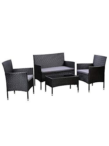 AmazonBasics Outdoor Patio Garden Faux Wicker Rattan Chair Conversation Set with Cushion - 4-Piece Set, Black