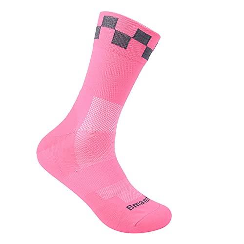 ACEACE Calcetines Deportivos Calcetines de Bicicletas de Carretera Transpirables Racing de Deportes al Aire Libre Ciclismo de Ciclismo (Color : Pink, Size : 38-45)