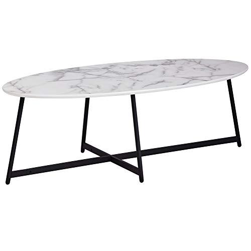 FineBuy Design Couchtisch Oval 120x60 cm mit Marmor Optik Weiß | Wohnzimmertisch mit Metall-Beine Schwarz | Großer Beistelltisch