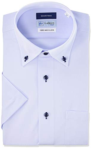 [アイシャツ] i-shirt 完全ノーアイロン ストレッチ 超速乾 レギュラーフィット 半袖 アイシャツ ワイシャツ メンズ サックス 半袖ボタンダウン 織柄 M16220000881 日本 L(首回り41cm) (日本サイズL相当)