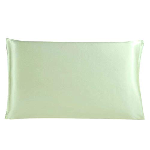 YeVhear - Funda de almohada de seda pura para el pelo y la piel, 350 TC, 19 Momme (1 unidad), color verde